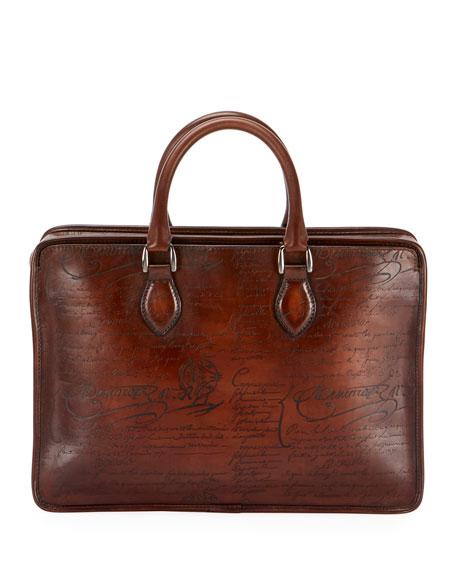 Men's Un Jour Mini Scritto Leather Briefcase