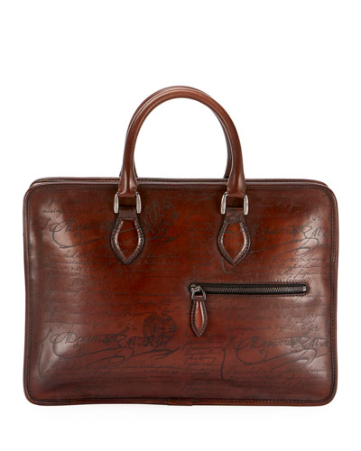 Men's Un Jour Mini Scritto Leather Briefcase