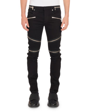4b2034086726 Balmain Men s Nervures Skinny Jeans with Zip Embellishments