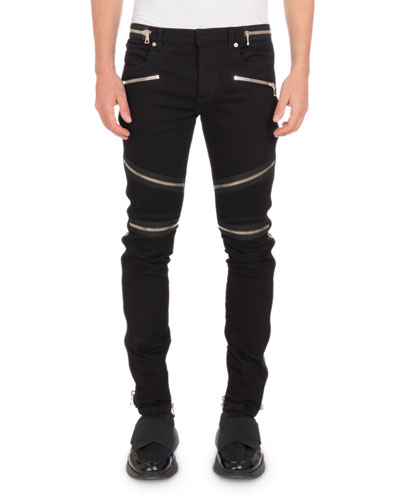 Men's Nervures Skinny Jeans with Zip Embellishments