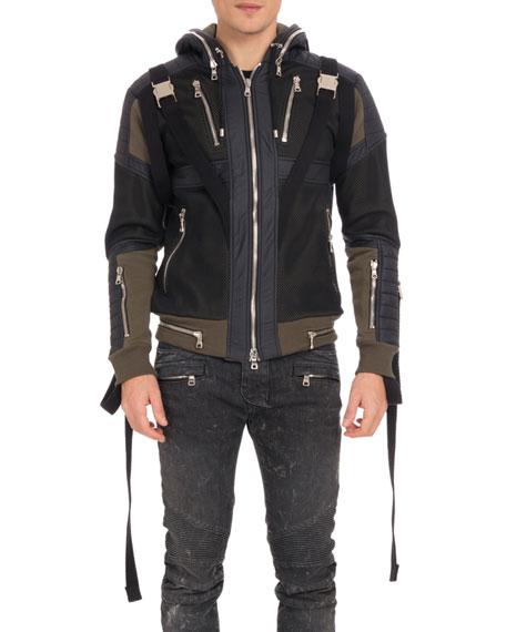 Balmain Men's Matelasse Zip Hoodie Jacket
