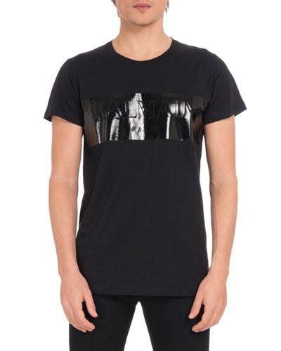 Men's Laminated Logo Crewneck Short-Sleeve Cotton T-Shirt