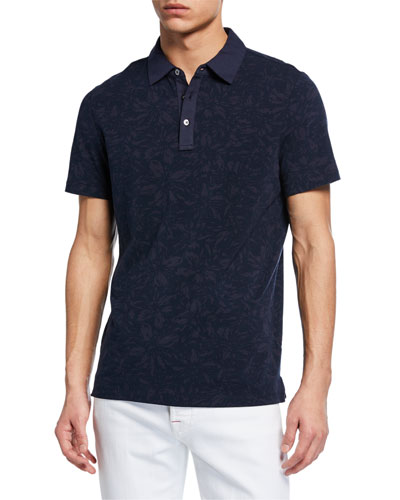 Men's Tonal Floral-Print Polo Shirt