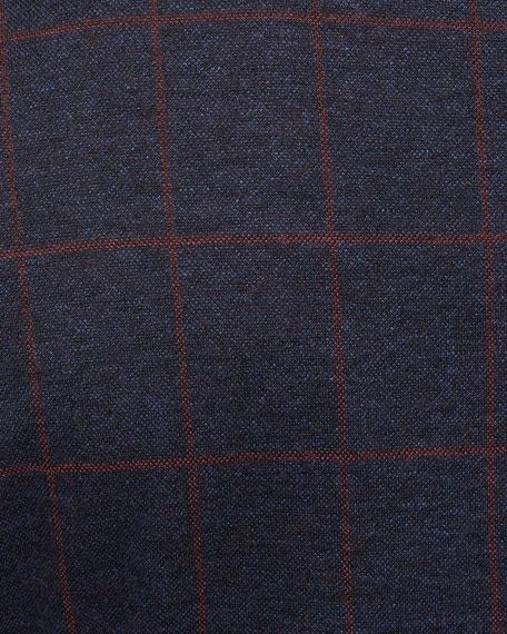 Men's Windowpane Jacquard Soft Blazer Jacket