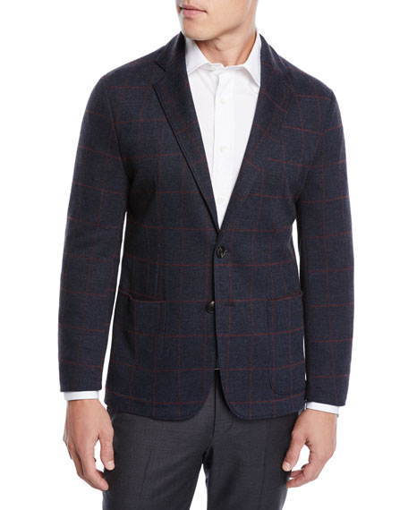 Men's Windowpane Jacquard Soft Blazer Jacket
