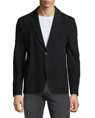 Men's Soft Flocked Velvet Two-Button Blazer Jacket