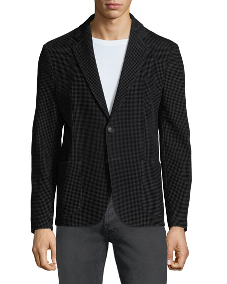 Men's Soft Flocked Velvet Two-Button Blazer Jacket