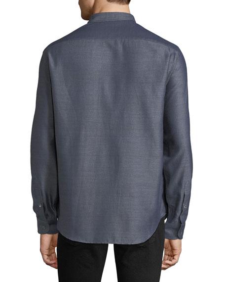 Men's Long-Sleeve Button-Front Melange Twill Woven Shirt