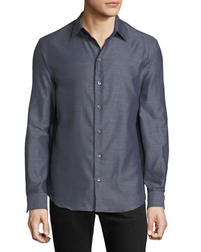 Men's Long-Sleeve Button-Front Melange Twill Woven Shirt
