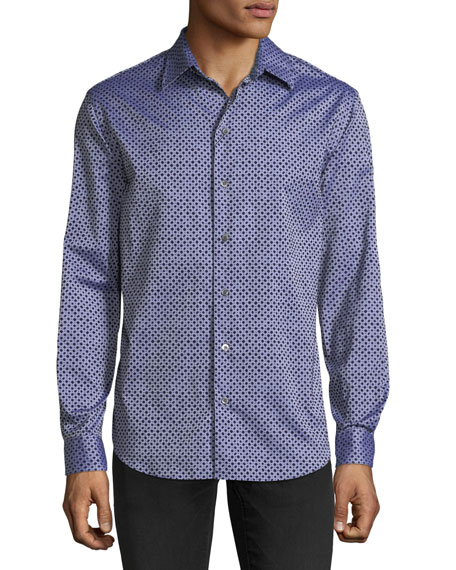 Emporio Armani Men's Diamond-Pattern Flocked Long-Sleeve Woven