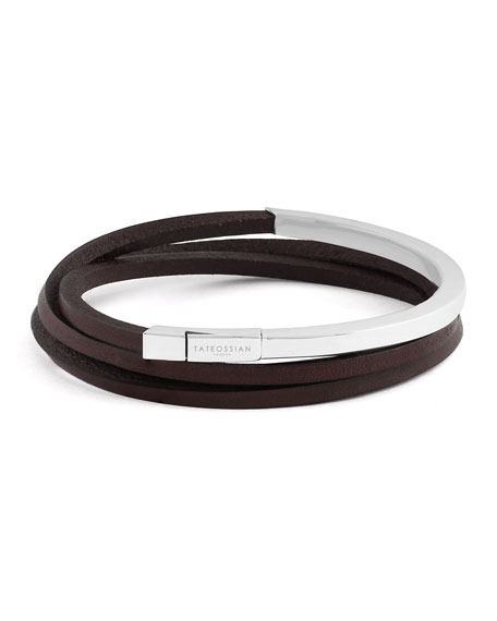 Men's Triple-Wrap Leather Bracelet, Size M, Brown