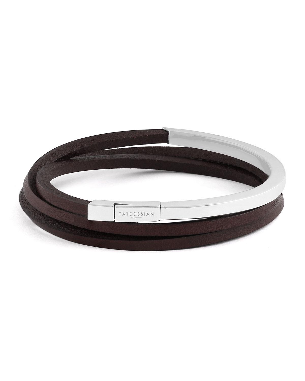 Men S Triple Wrap Leather Bracelet Size M