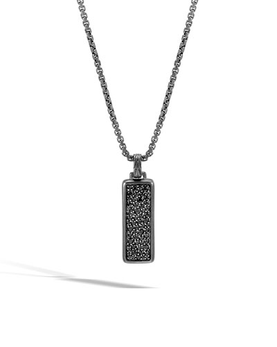 Men's Classic Chain Pendant Necklace w/ Black Sapphire
