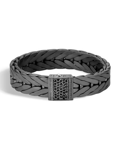 Men's Modern Chain XL Silver Bracelet with Black Sapphire with Black Rhodium & Sapphires
