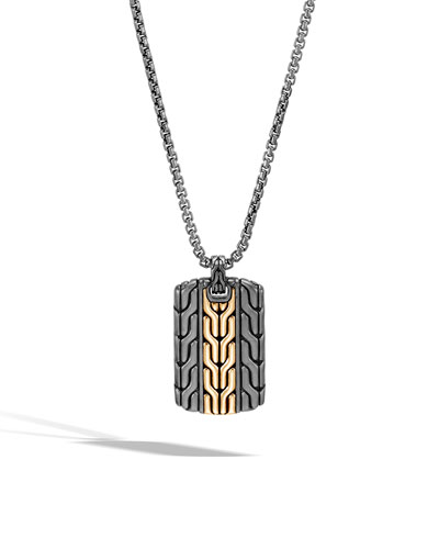 Men's Classic Chain Dog Tag Necklace with Rhodium & 18k Gold, 26