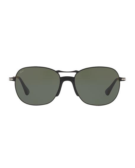 Men's PO2449S Square Aviator Sunglasses w/ Solid Lenses