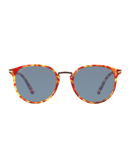 Men's PO3210S Oval Acetate Keyhole Sunglasses - Solid Lenses