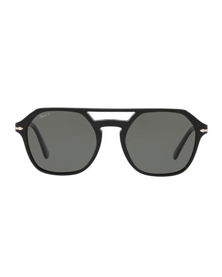 Men's PO3206S Acetate Keyhole Pilot Sunglasses - Polarized Lenses