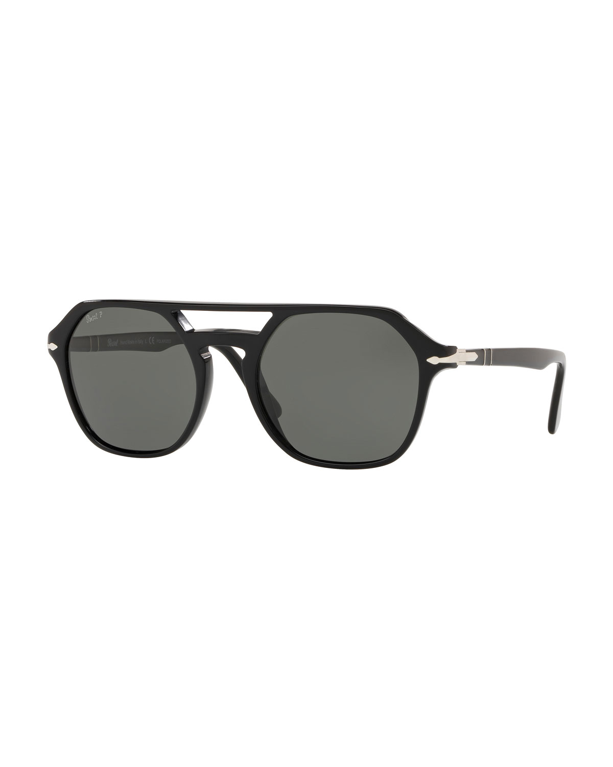 4cc21c007a Persol Men s PO3206S Acetate Keyhole Pilot Sunglasses - Polarized ...