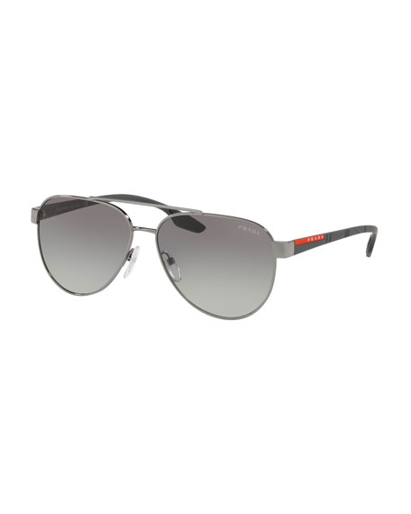 Prada Men's Metal Aviator Sunglasses - Gradient Lenses