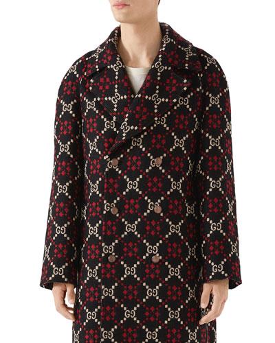 Men's  Macro-GG Net Pattern Double-Breasted Coat