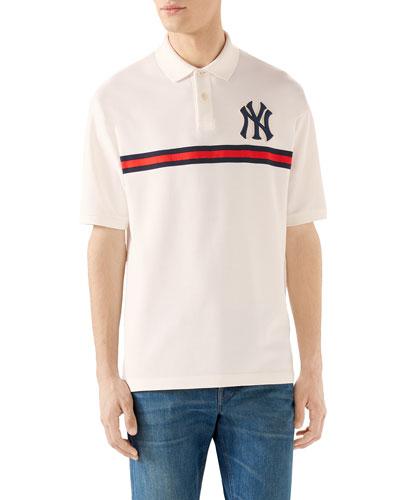Men's NY Yankees MLB Polo Shirt with Logo Applique