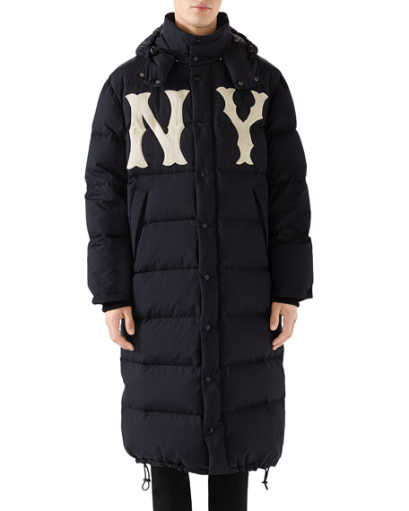 Men'S Ny Yankees Mlb Long Puffer Parka Coat in Black