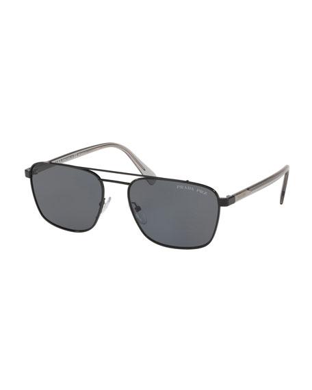 Prada Men's Square Metal Aviator Sunglasses - Solid
