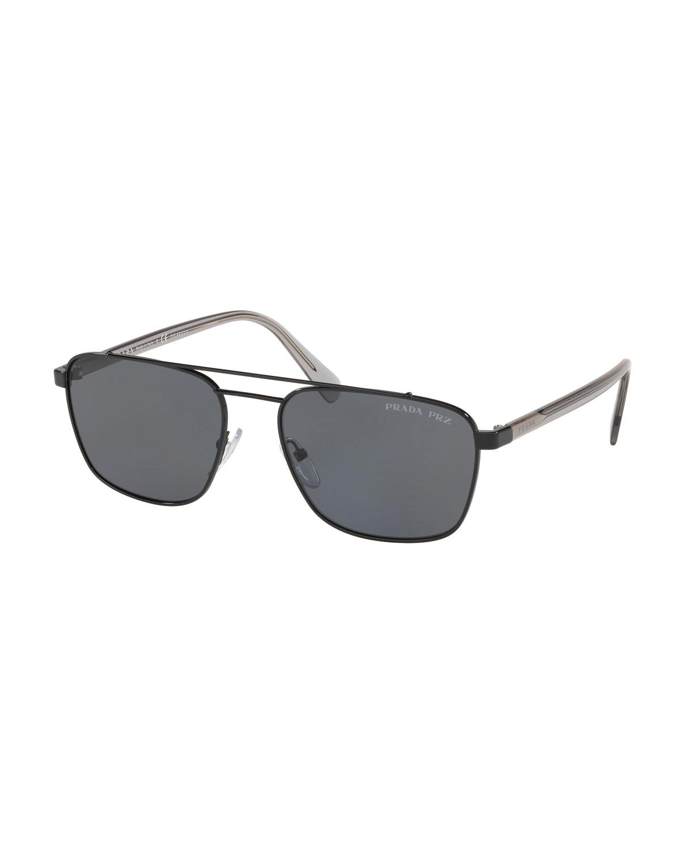 9a2d24705851 Prada Men s Square Metal Aviator Sunglasses - Solid Lenses