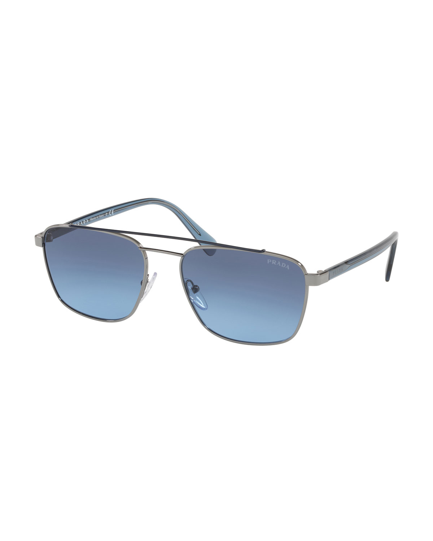 8f993afb696 Prada Men s Square Metal Aviator Sunglasses - Gradient Lenses ...
