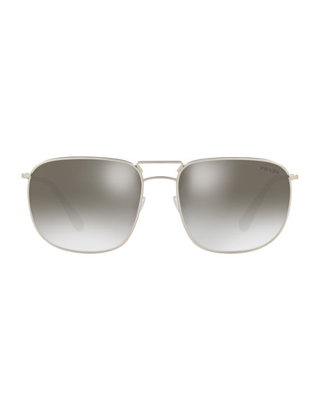 Men's Square Metal Aviator Sunglasses - Mirrored Lenses