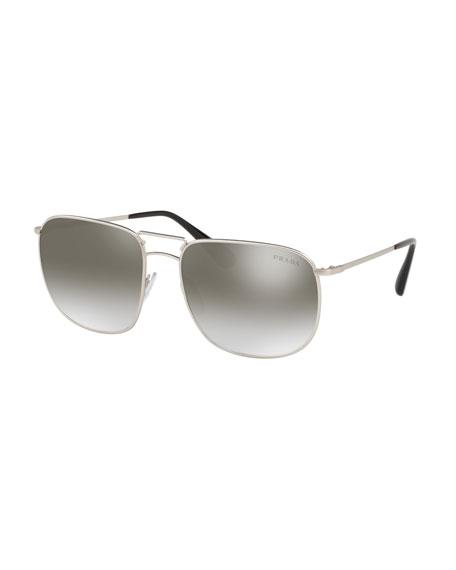 Men's Square Metal Aviator Sunglasses - Mirrored Lenses