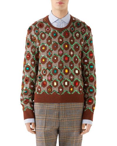 Men's Jewel-Embellished Jacquard Sweater