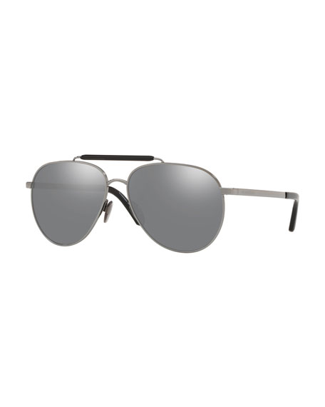 Burberry Men's 59mm Aviator Sunglasses w/ Mirror Lenses