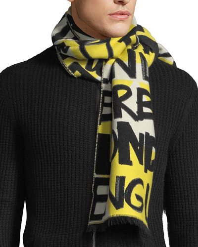 Men's Graffiti Logo Jacquard Scarf