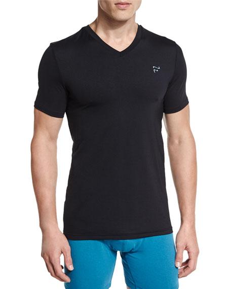 Mesh V-Neck T-Shirt, Black