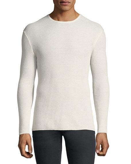 Waffle-Knit Crewneck Sweater