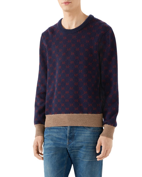 Gg Supreme Wool Blend Knit Sweater, Blue