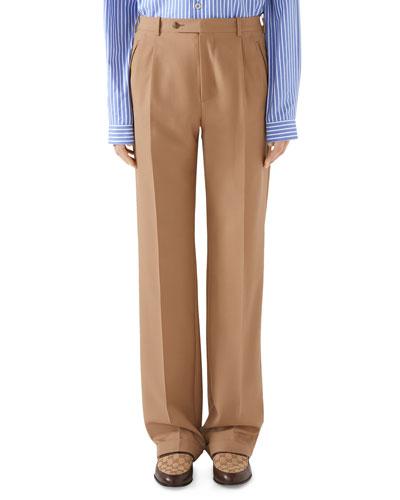 Men's Pleated Straight-Leg Trousers