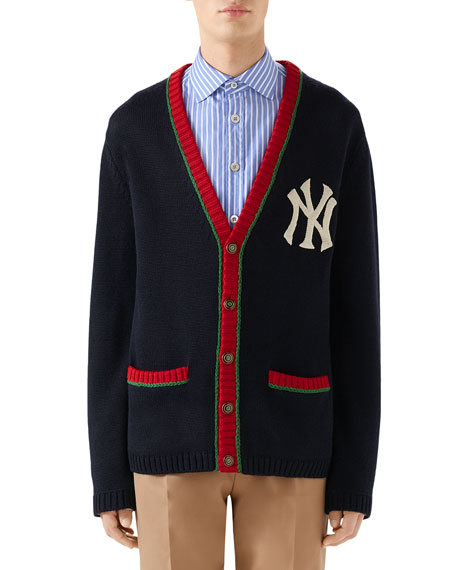 Men's Contrast-Trim NY Yankees MLB Cardigan