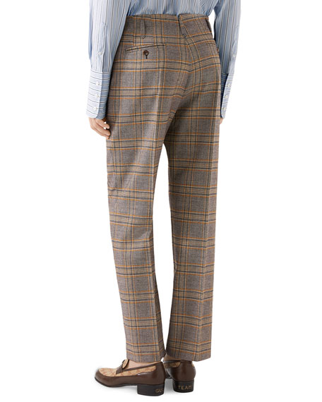 Men's 70s-Check Straight-Leg Trousers