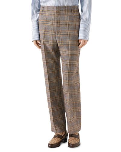 Men's 70s-Check Straight-Leg Trousers