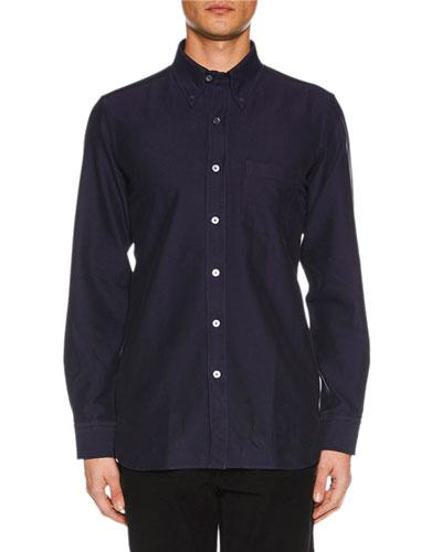 Men's Point-Collar Casual Button-Front Cotton Shirt