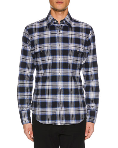 Men's Brushed Tonal Overcheck Western Shirt