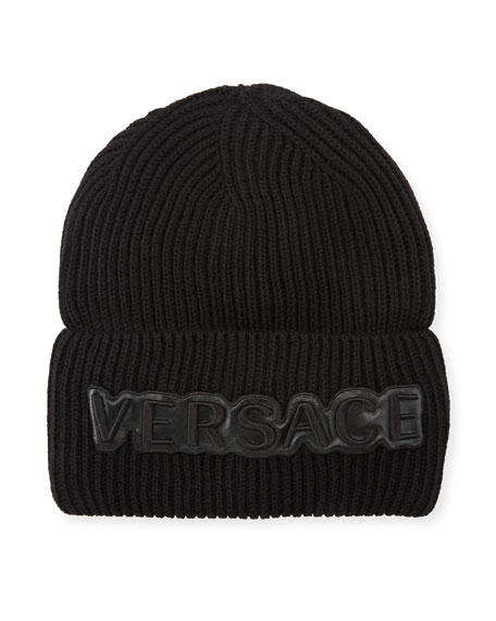 7296e1edd98 Versace Men S Fold-Over Beanie With Logo Applique In Black