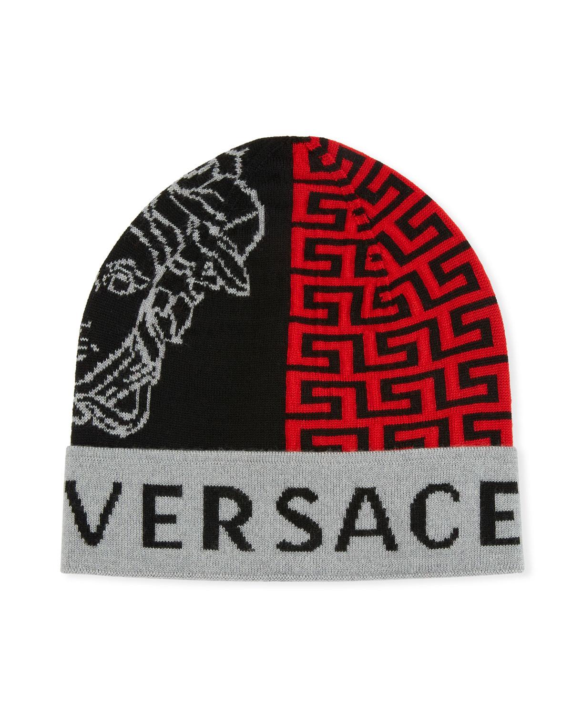 Versace Men s Logo Knit Beanie Hat  f002e72934e