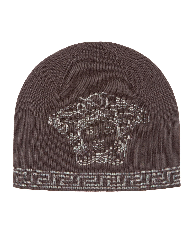 Versace Men s Medusa Logo Intarsia Beanie Hat  cf653a6441e