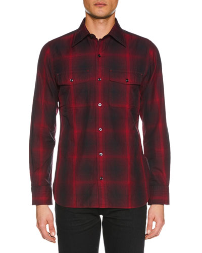 Men's Shaded Check Sport Shirt