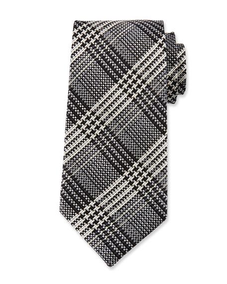 Men's Two-Tone Plaid Silk Tie