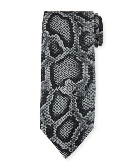 TOM FORD Snake-Print Silk Tie